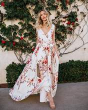 Elegant Boho Chiffon Bohemian Casual White Floral Long Maxi Women Party Sexy Sundress Summer Beach Dress V Neck Sundresses(China)