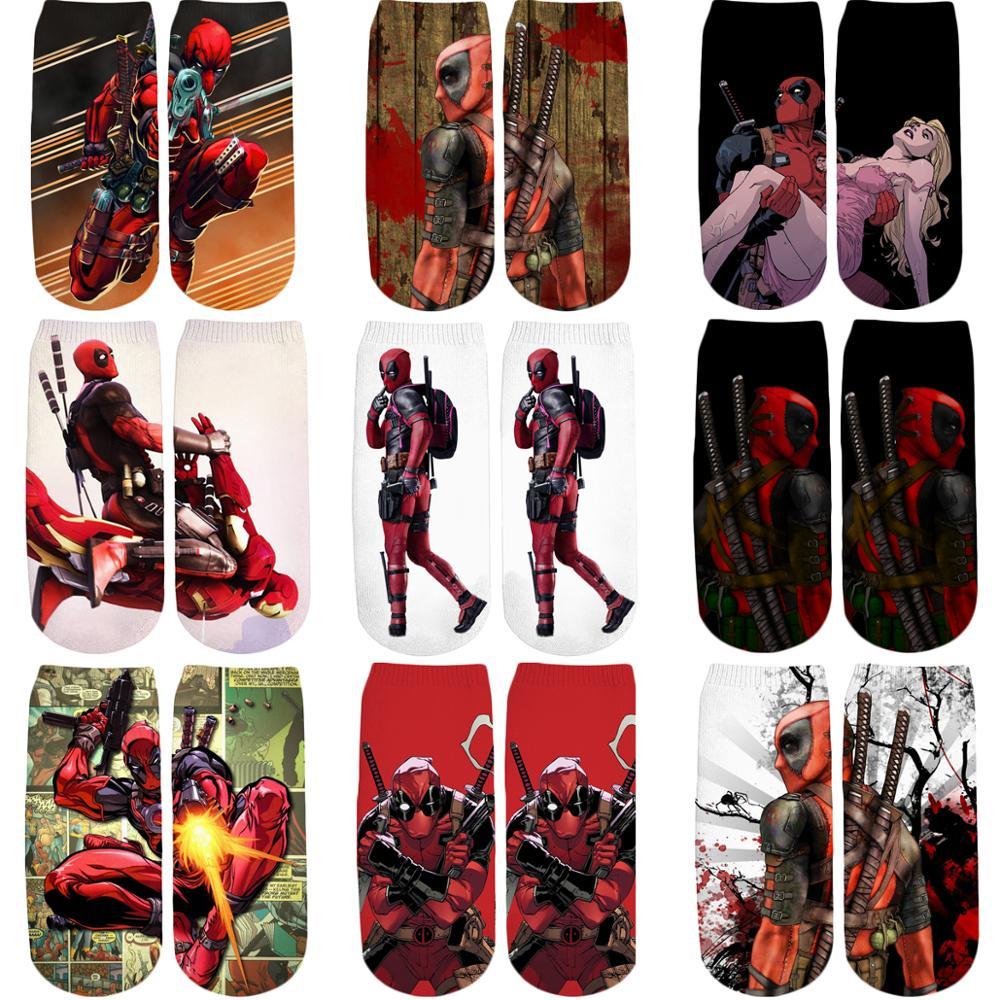 PLstar Cosmos 2019 New 3D Printed Marvel Superhero Funny Deadpool Cotton Short Ankle Socks For Women Ladies Harajuku Korean Sock