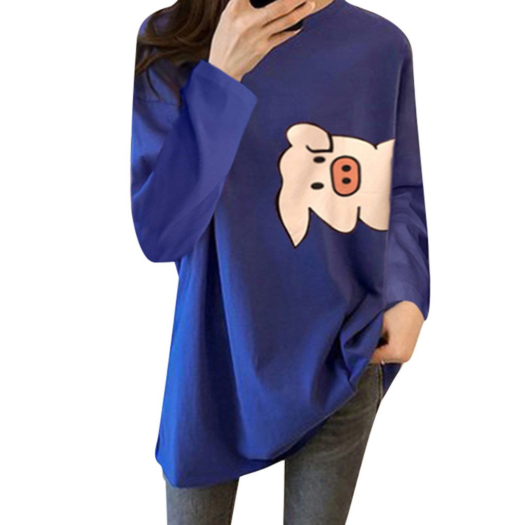 Cute Cartoon Print Loose Hoodies Long Sleeve Round Collar Bottoming Shirt Casual Women Tops Sweatshirt Autumn Hoodie Female