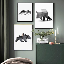 Black And White Fox Polar Bear Jungle Wall Art Canvas Painting Nordic Posters Prints Pictures For Living Room Decor
