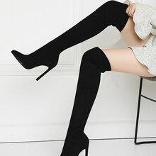 QUTAA/зимние женские сапоги выше колена, 2020 г. Обувь без шнуровки из стрейчевой ткани на высоком каблуке женские высокие сапоги с острым носком...