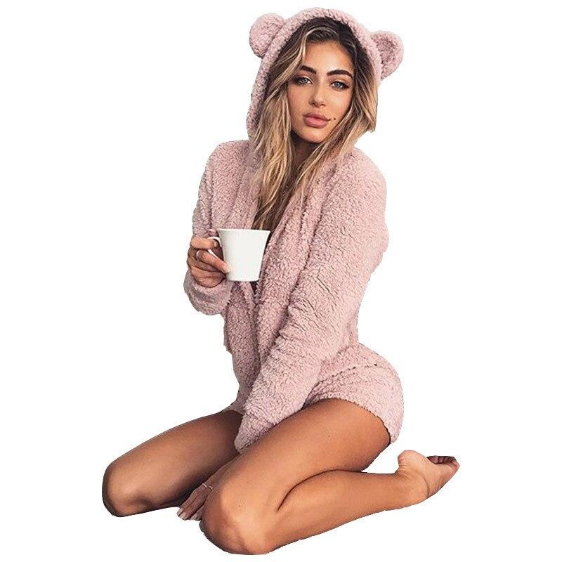 Plus Size 5XL Solid Color Women's Hooded  Bodysuit Autumn Cute Shorts Rompers Home Service Jumpsuit Combinaison Pantalon Femme