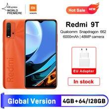 Estreia mundial versão global xiaomi redmi 9t 4gb 64gb/4gb 128gb/6 + 128gb smartphone snapdragon 662 48mp câmera traseira 6000mah