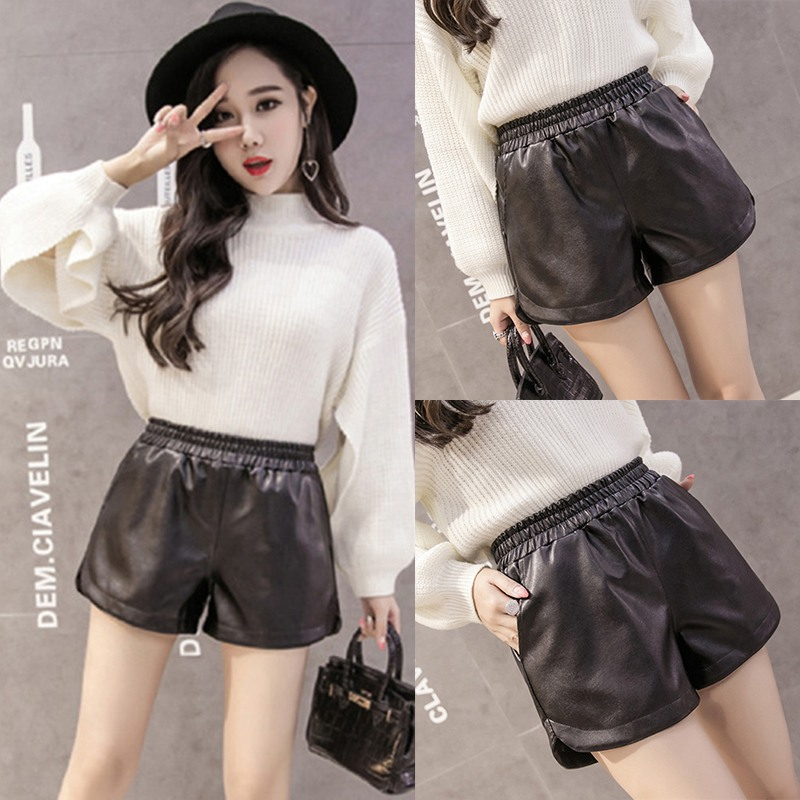 Women Autumn Winter Comfy Solid Color Casual Wide Leg High Waist Loose PU Leather Fashion Shorts