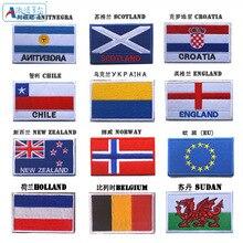 Иностранный национальный флаг на липучке этикетка Норвегия суданская Англия этикетка для одежды двухсторонняя сумка на липучке аксессуары