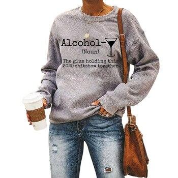 Autumnwomen's Sweatshirt Alcohol Letter Wine Cup Print Crew Neck Long Sleeve Hoodie Ropa Mujer letter print crew neck long sleeve pullover sweatshirt for men