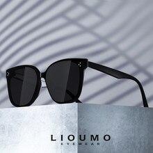 LIOUMO Cat Eye Sonnenbrille Für Frauen 2021 Klassische Retro Niet Quadrat Gläser Männer Trendy Shades Unisex zonnebril dames
