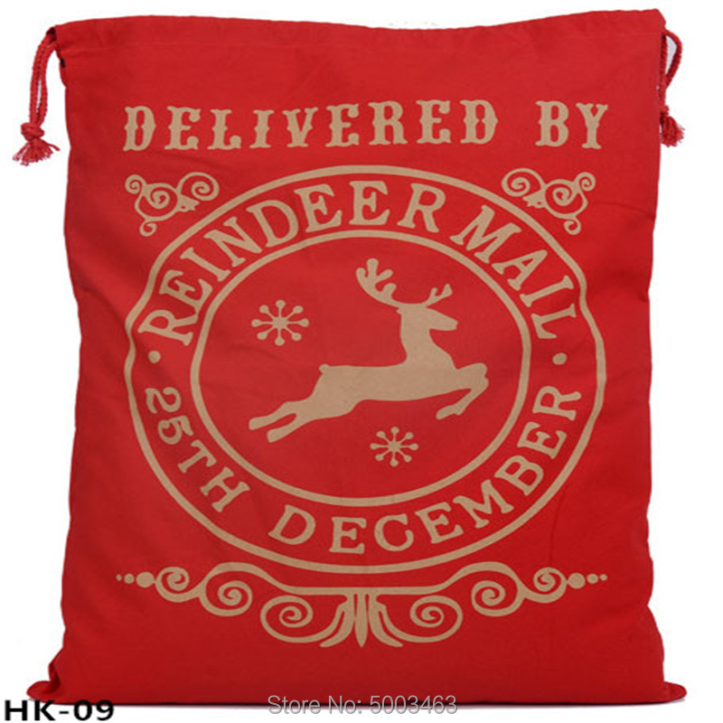 Wholesale Santa Sacks 20pcs/lot Christmas Bag Party Large Canvas Bag Drawstring Santa Sack Gift Bag Burlap Personalized