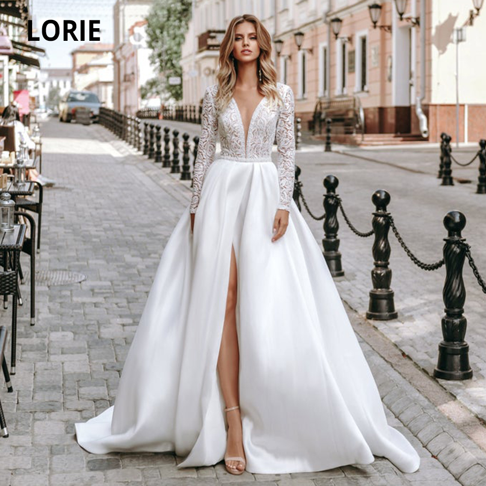 LORIE Long Sleeve Lace Wedding Dresses Satin Bridal Gown A-line 2019 V-neck Beach Wedding Gowns High Split Plus Size Court Train