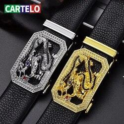 CARTELO fashion waist male 3.8cm Width Men's Leather Belt Good mens belts for men With Elegant luxury brand automatic buckle