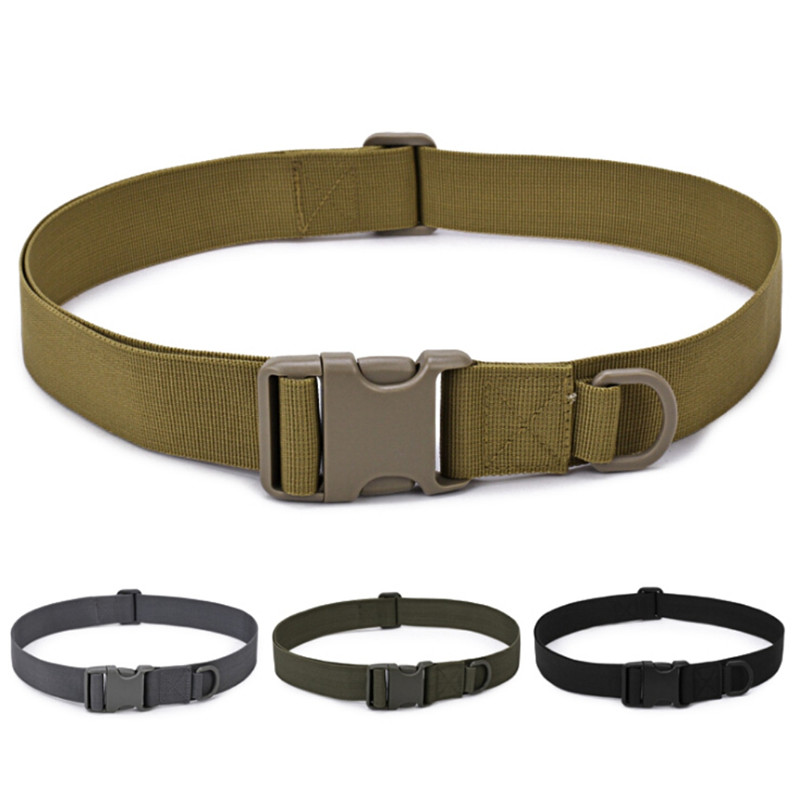 Practical Outdoor Army Military Adjustable Fan Hook Loop Waistband Combat Canvas Duty Tactical Sports Belt With Plastic Buckle