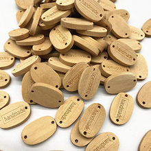 Botón ovalado de madera de 12x19mm, letras hechas a mano, álbum de recortes para decoración de boda, accesorios de costura