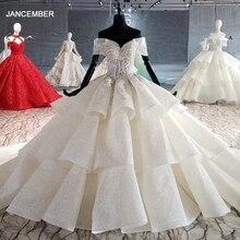 HTL1011 מבריק חתונה שמלת כדור שמלת חרוז קריסטל מתוקה כבוי כתף הלבשה כלה שמלת vestidos דה novia קורטה פרינססה