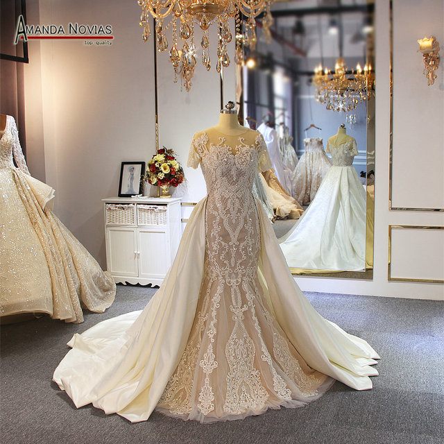Full beading lace wedding dress champagne color with detachable train 2019 wedding gowns