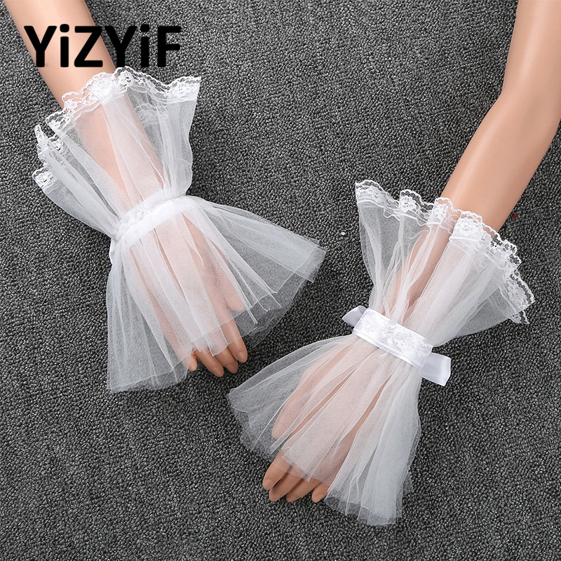 Wrist Cuffs Women Girls Handmade Adjustable Ruffled Tulle Bracelet False Sleeves Clothing Accessories For Wedding Dance Costume