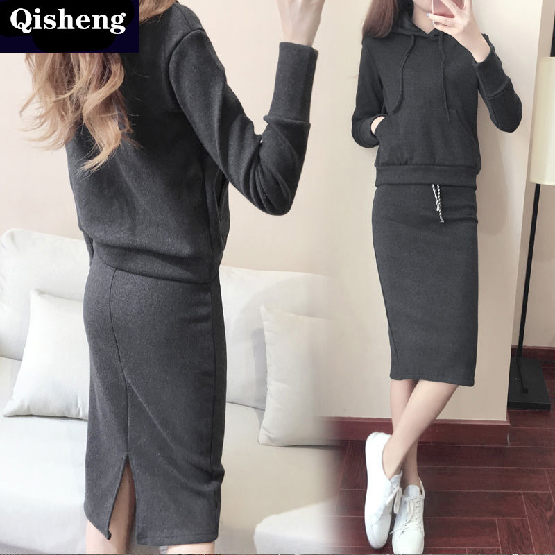 2019 Autumn New Style Dress Outfit Women's Casual Loose-Fit Hooded Tops + Slit Sheath Long Skirts Two-Piece Set Fashion