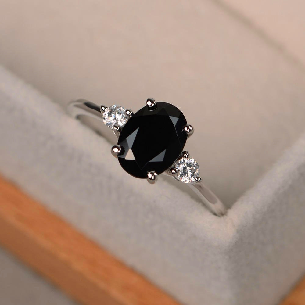 Classical Male Female Black Sapphire Ring 100% Real 925 Sterling Silver Engagement Ring Men Women Small Oval Wedding Rings