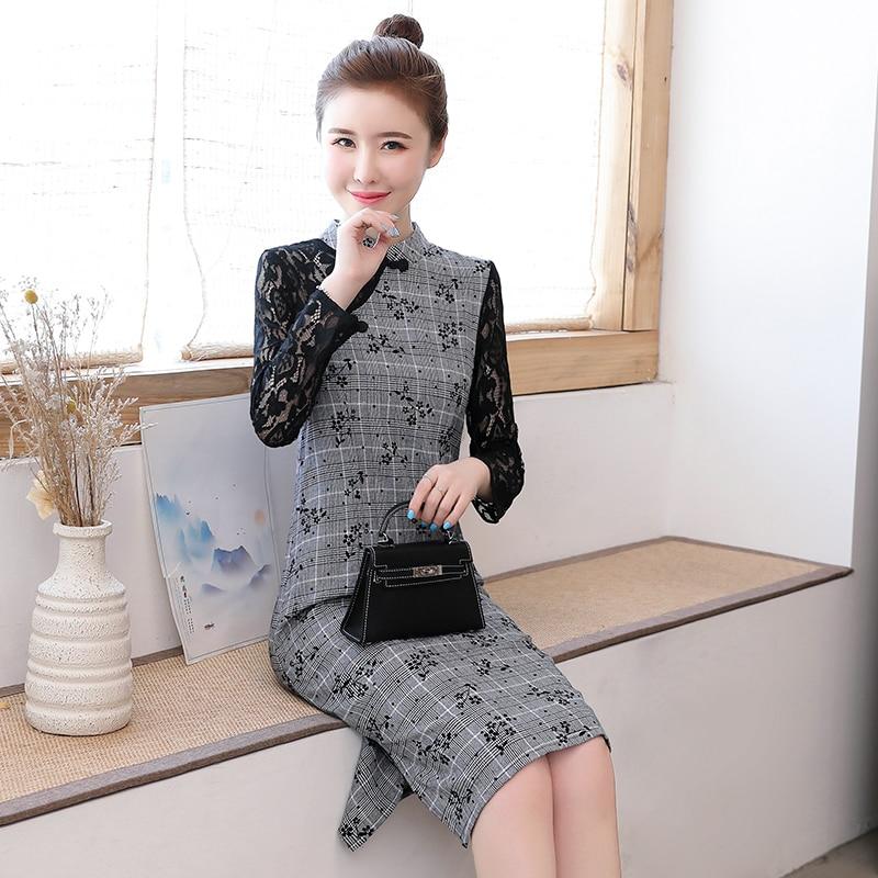 2020 Improved Chinese Dress Cheongsam Women Female Chinese Style Dress Long Sleeve Mandarin Collar Qipao Party Dress Aodai