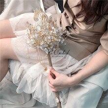 PEORCHID Luxe Handgemaakte Crystal Scepter Bedrijf Boeket Bruiloft bloemen Kunstmatige Parels Strass Bruidsboeket Custom