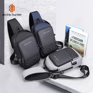 Image 2 - ARCTIC HUNTER 2020 USB su geçirmez erkek göğüs çantası erkek eğlence Messenger omuz gençler için çanta seyahat Crossbody Bolsas