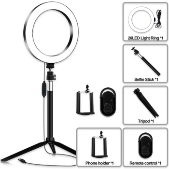 3In1/5in1 USB LED Ring Light Dimmable Ring Light 7.9 Inch LED Ring Lights 3200K - 5500K DC 5V With Selfie Stick And Tripod