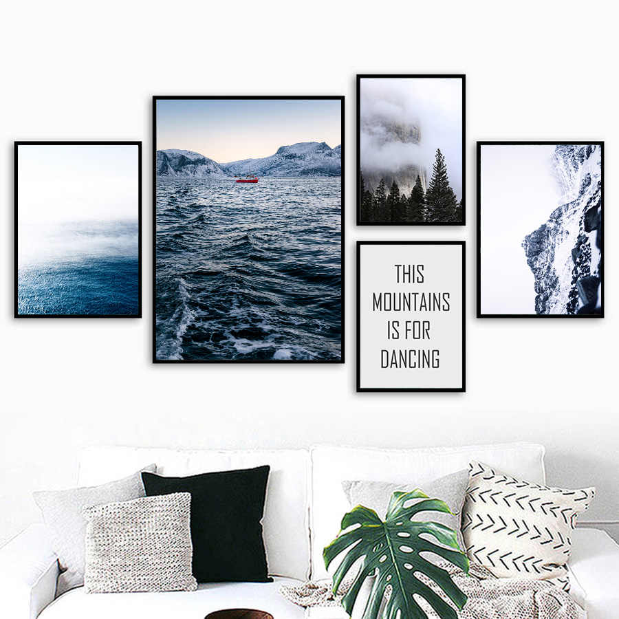 Nordic Landscape Snow Mountain Lake Canvas Paintings Ocean Wave Wall Art Canvas Pictures for Home Living Room Bedroom Pop Decor