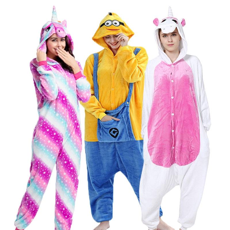 Kigurumi Adult And Kids Unicorn Pajamas Cartoon Sleepwear Flannel Animal Cosplay Onesie Stitch Panda Bear Pijama For Men Women