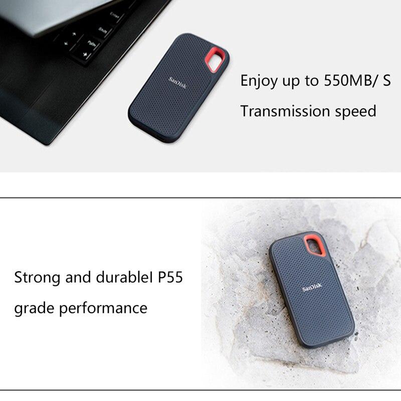 SanDisk E60 внешний SSD ТБ 1 ТБ 500GB внешний твердотельный диск Портативный жесткий диск для настольного компьютера 550 м/с