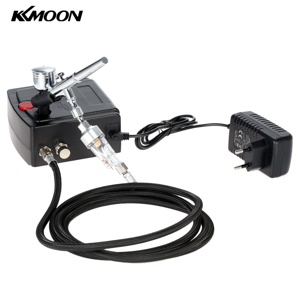 <font><b>KKmoon</b></font> 100-240V Professional Gravity Feed Dual Action <font><b>Airbrush</b></font> Air <font><b>Compressor</b></font> Kit for Art Painting Spray Model Air Brush ToolSet image