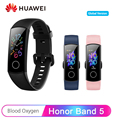 Смарт-браслет huawei Honor Band 5  глобальная версия AMOLED 0 95 ''  сенсорный экран  5 АТМ  умный браслет с кислородом для измерения пульса в крови