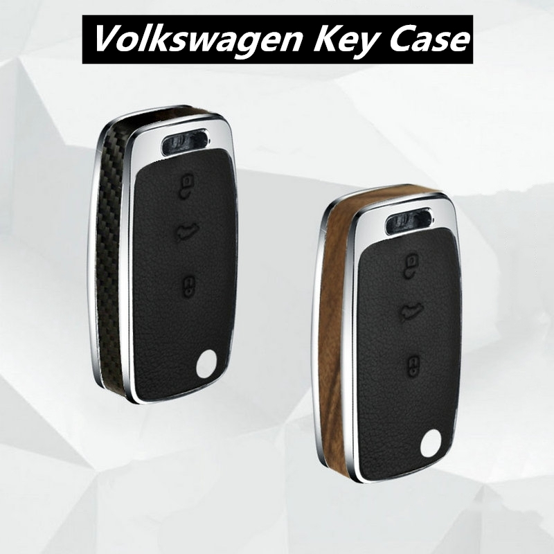 Wood Carbon Fiber key case cover shell holder for vw Jetta Golf Bora POLO Passat For Skoda Octavia A5 Fabia SEAT Ibiza Leon