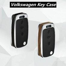 Wood/Carbon Fiber key case cover shell holder for vw Jetta Golf Bora POLO Passat For Skoda Octavia A5 Fabia SEAT Ibiza Leon