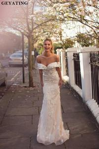 Image 4 - 2020 Off The Shoulder Detachable Wedding Dress Train Champagne Lace Appliques Mermaid Wedding Dresses Ruffles Vestidos de novia