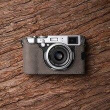 Fuji X100F Cámara Mr.Stone hecho a mano funda de cámara de cuero genuino Video media bolsa Cámara body