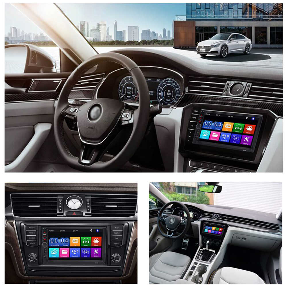 Carsanbo 7 pulgadas 2 Din coche Video Audio de coche estéreo de coche enlace espejo pantalla táctil reproductor de Multimedia Mp5 Bluetooth TF USB FM Cámara