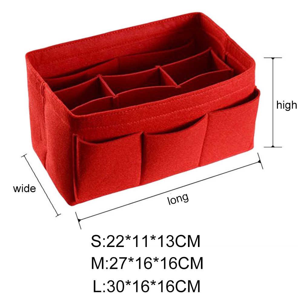 新しいマルチグリッド防水大容量化粧品収納バッグフェルトオーガナイザー