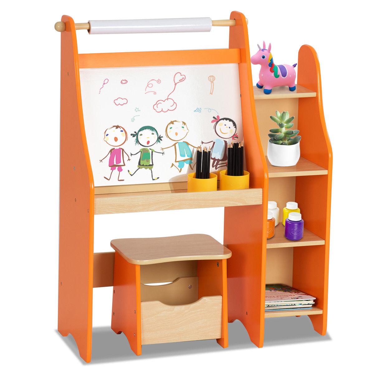 Goplus Kids Art Master Drawing Desk Easel Artist Activity Storage W/ Stool Studio Set