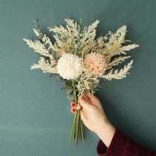 INS NEW Artificial Flower Dandelion Eucalyptus Hybrid Bouquet Wedding Home Decoration Green Artificial Plant Fake Flower