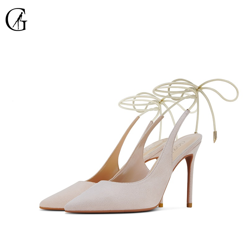 GOXEOU Women's Pumps Flock Nude Red Black Slingbacks Lace-Up Pointed Toe High Heels Party Fashion Office Lady Shoes Size 32-46
