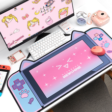 Cute Cat Ears Big Mouse Pad 80CM*40CM Thicken Computer Games Non-slip Pink Girl Cartoon Super Cute For Girl