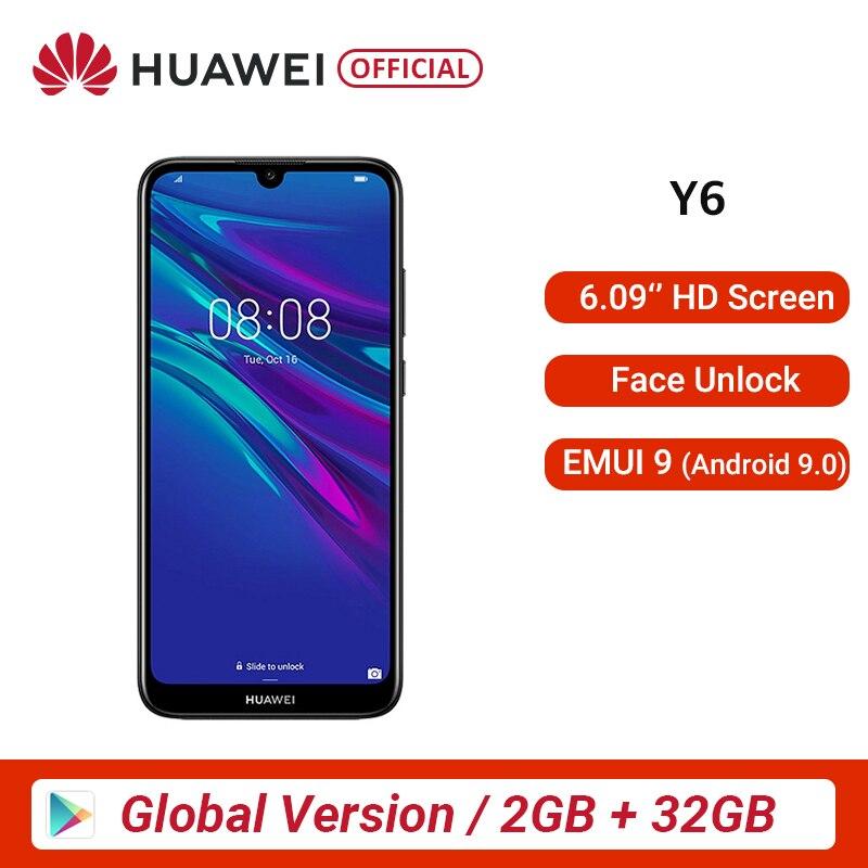 "Global Version HUAWEI Y6 2 GB 32 GB 2019 Smart Phone 6.09"" MT6761 Quad Core 13MP F/1.8 Aperture Fingerprint Recognition Original"
