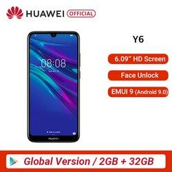 Versão global huawei y6 2 gb 32 gb 2019 telefone inteligente 6.09