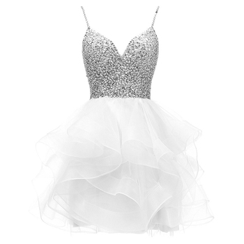 ANGELSBRIDEP Spaghetti Beaded Bodice Short Homecoming Dress Tulle Prom Dress Sequins Party Gown 8 Grade Graduation Dress HOT 2