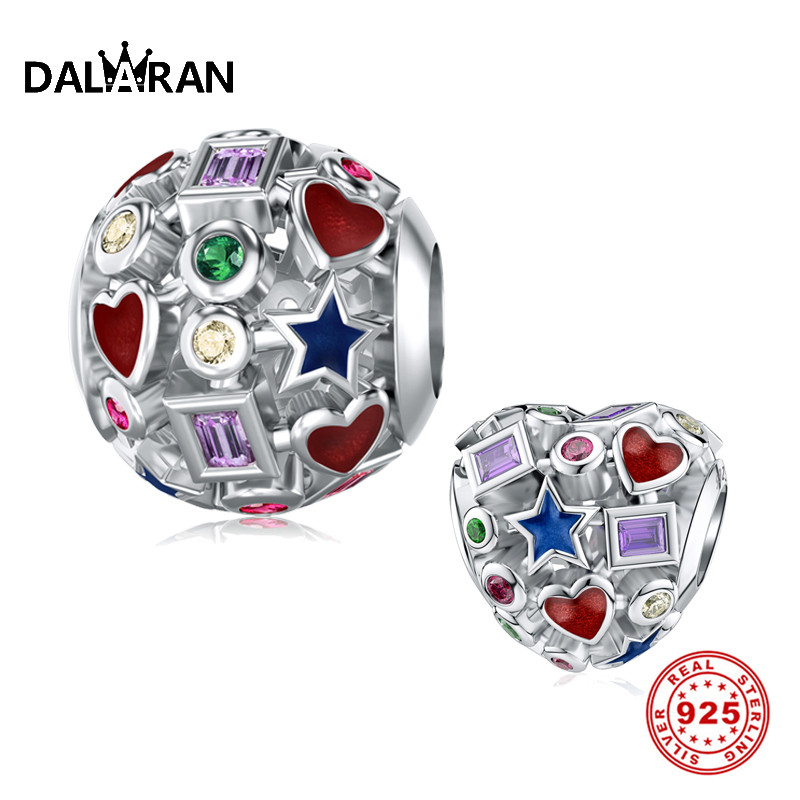 DALARAN Diy Charm Sterling Silver 925 Openwork Colorful Bead For Original Pandora Charms Bracelet Authentic Female Fine Jewelry