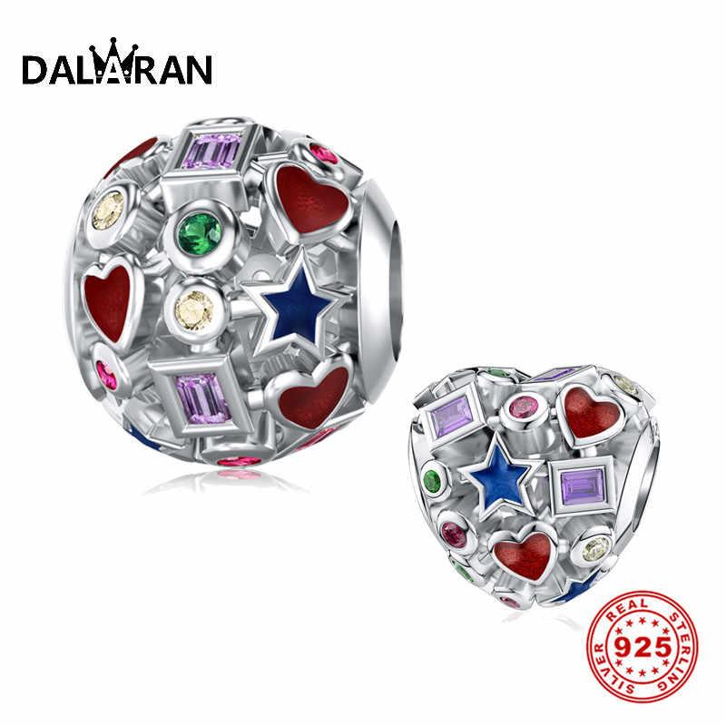 DALARAN Diy dije de plata esterlina 925 cuentas coloridas caladas para Pulsera Original Pandora auténtica joyería fina femenina
