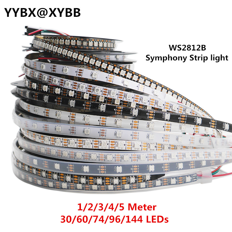1/2/3/4/5 Meter WS2812B Full Color Symphony 30 60 74 96 144 LED Pixel/Meter Built-in IC Programmable Addressable 5V Strip Lights