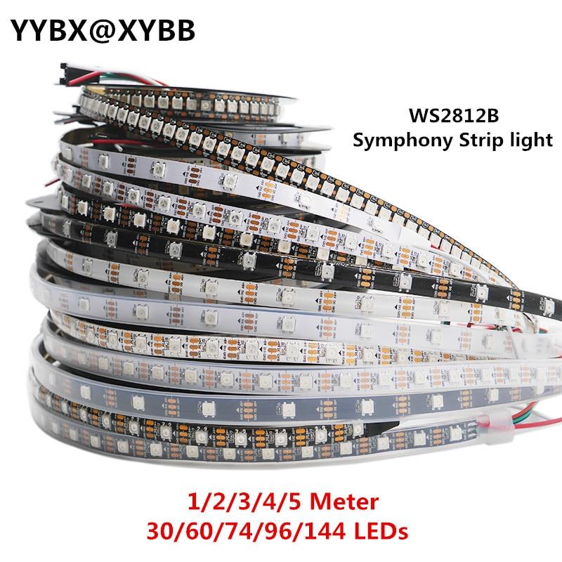 1/2/3/4/5 Meter WS2812B Full Color Symphony 30 60 74 96 144 LED Pixel/Meter Built-in IC Programmable Addressable 5V Strip Lights