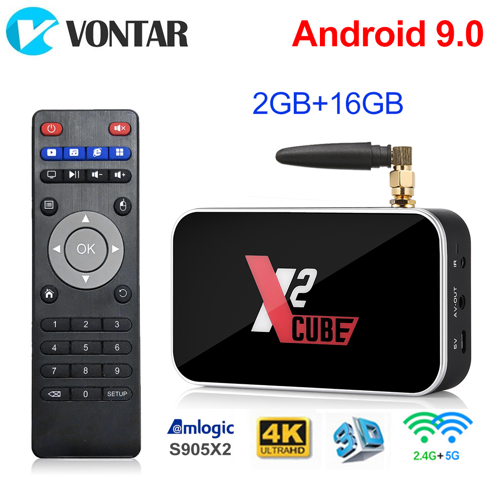 X2 Cube 2GB 16GB Android 9.0 Smart TV Box X2 Pro 4GB RAM 32GB DDR4 Amlogic S905X2 Set Top Box 2.4G/5G WiFi 1000M 4K Media Player
