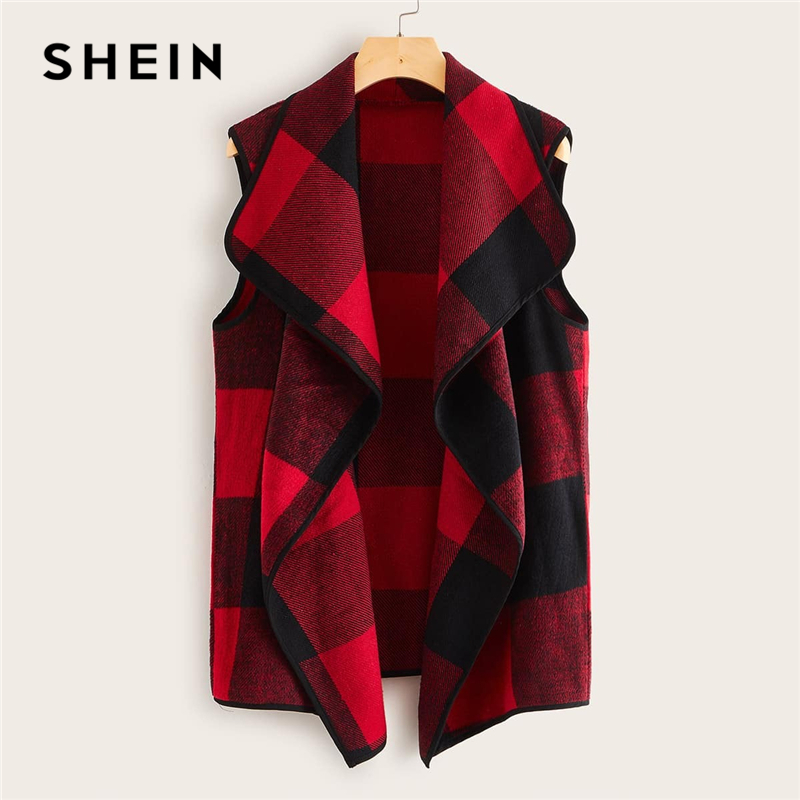 SHEIN Multicolor Waterfall Collar Gingham Vest Coat Women Outwear 2019 Autumn Sleeveless Open Front Office Laidies Casual Coats