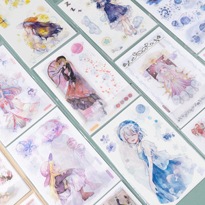 6 pcs/lot Retro young girl Decorative Stationery Stickers cute Scrapbooking DIY Diary Album Stick Lable